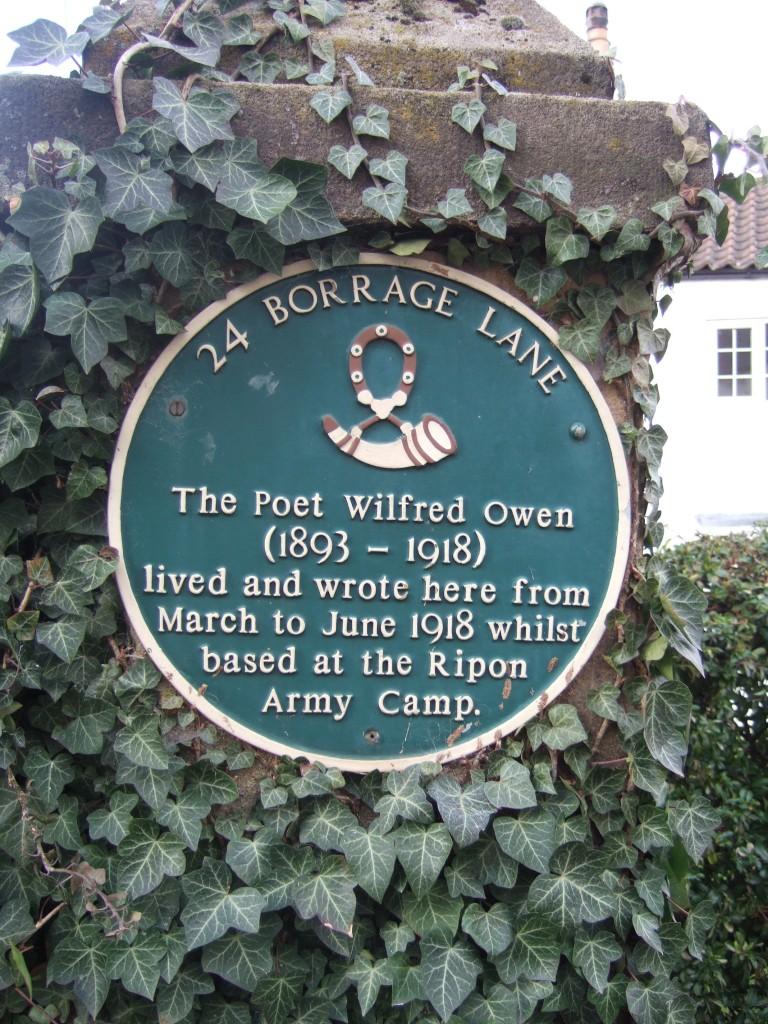 Wilfred Owen plaque in Borrage Lane, Ripon