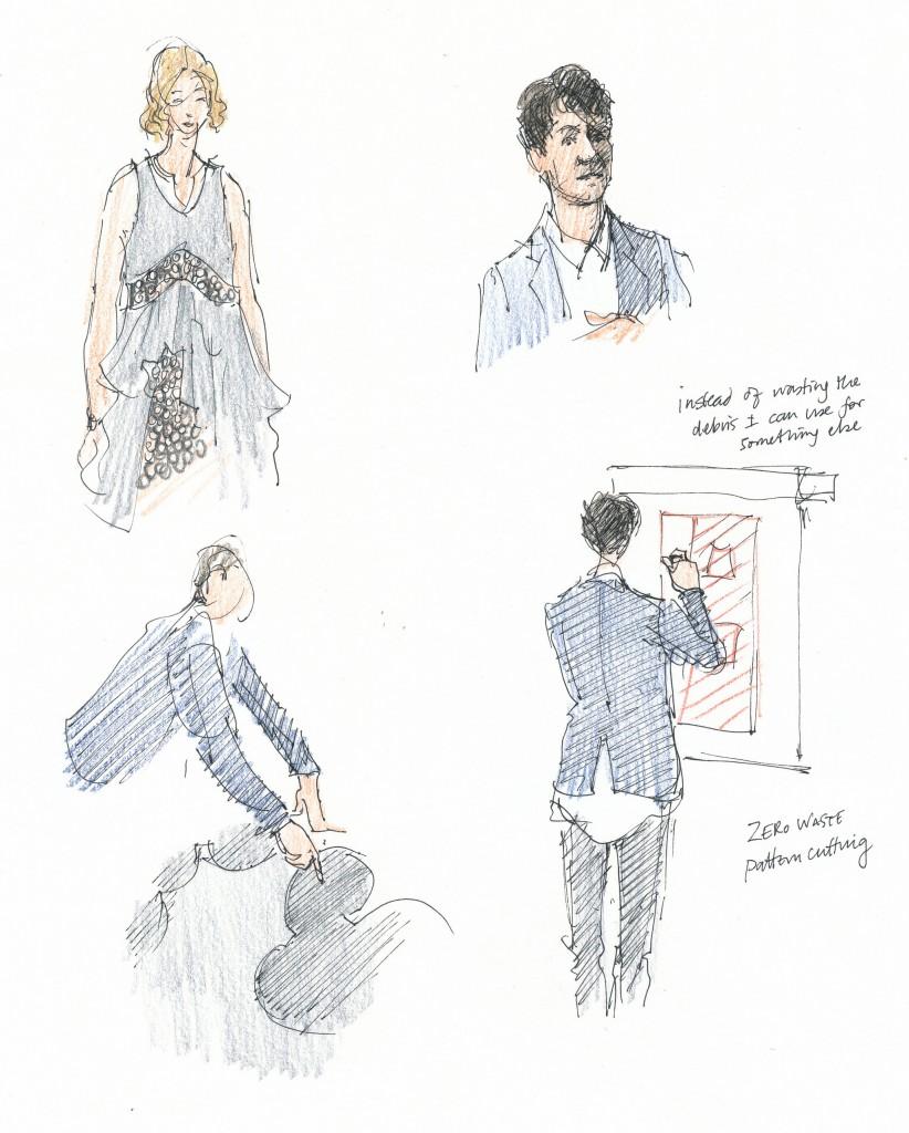 event drawing - Sarah Godsill Bath in Fashion, Julian Roberts subtraction cutting