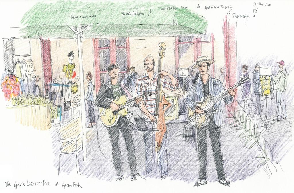 event illustration - Sarah Godsill, Bath in Fashion, Gavin Lazarus trio at Green Park Station