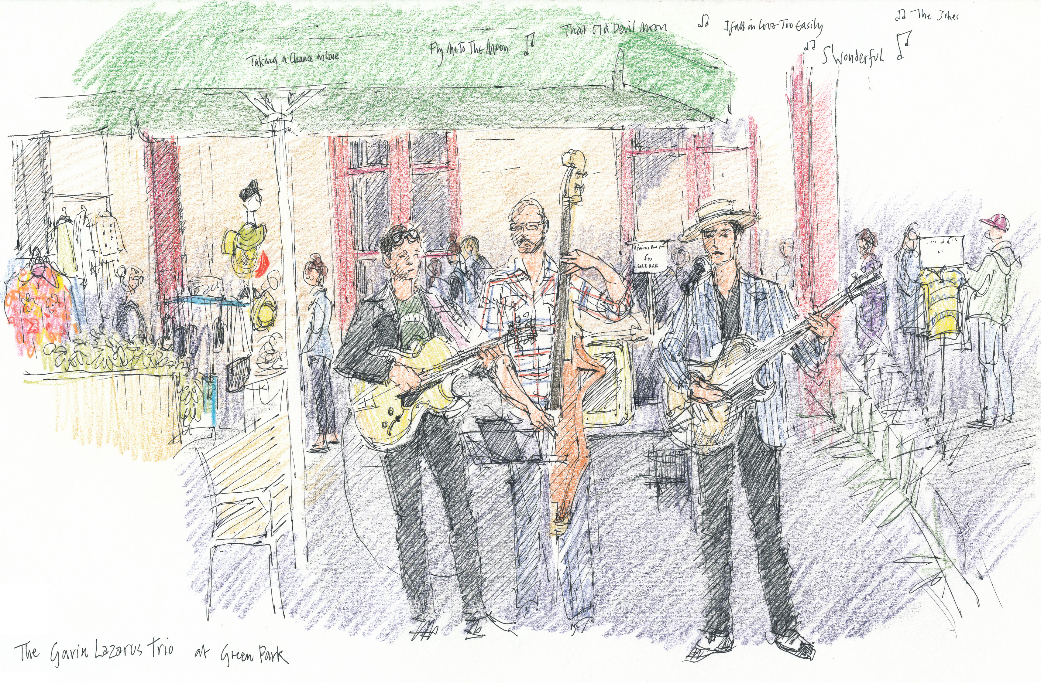 event illustration - Sarah Godsill, Bath in Fashion, Gavin Lazarus trio at Green Park Station
